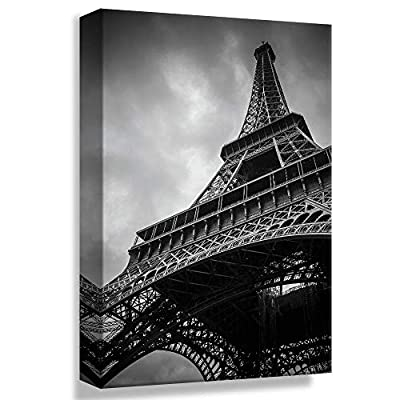 Canvas Wall Art Black White Eiffel Tower in Paris Painting Artwork for Home Prints Framed - 16x24 inches