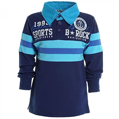 Kinder Langarm Shirt Pullover Polo Shirt Longsleeve Sweat Shirts T Shirt 20445, Farbe:Navy;Größe:152