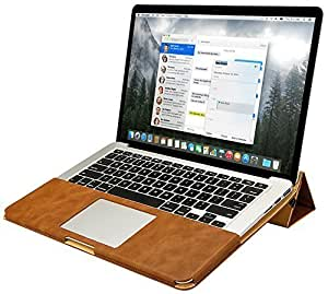 """Macbook Pro 13 inch Case, Jisoncase One-piece Designed Vintage Leather Flip Case Sleeve with Stand Function for Apple Macbook Pro 13"""" Retina Without CD Drive Brown JS-PRO-05R20"""