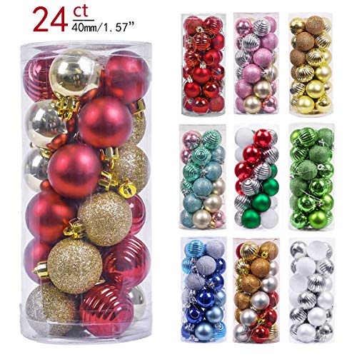 Valery Madelyn 24ct 40mm Luxury Red Gold Shatterproof Christmas Ball Ornaments Decoration,Themed with Tree Skirt(Not Included)