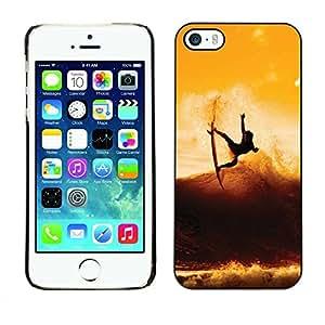 PC/Aluminum Funda Carcasa protectora para Apple Iphone 5 / 5S Sunset Surf Surfer Cool Wave / JUSTGO PHONE PROTECTOR