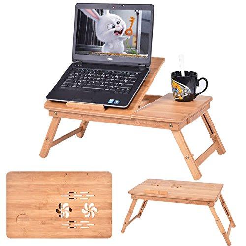 Newvante Mesa De Bambu con Base Enfriadora 2 Ventiladores Laptop Bamboo Cama Desayuno Cena