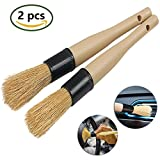 detail brush - 2 PCS Natural Boar Hair Car Detail Brush by TAKAVU, Ultra Soft and No Metal Parts Perfect for Cleaning Wheels, Rims, Engines, Interior, Air Vents, Emblems (Set #2)
