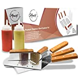 Amari Bliss Flat Top Grill Metal Spatula Griddle Stainless Steel Outdoor Kitchen Scraper Cooking Grilling Hibachi Accessories Utensils Barbecue Tools Set