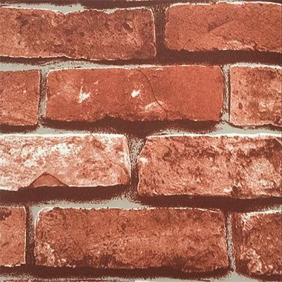 On Border Stick - Retro Vintage Faux Brick Wallpaper For Home Bar Wall Decoration Wall Paper-Red