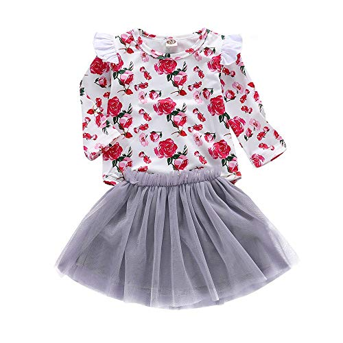 Price comparison product image NUWFOR Toddler Baby Girls Rose Floral Print Romper Tops Solid Skirt Outfits Set ClothesGray, 12-18Months