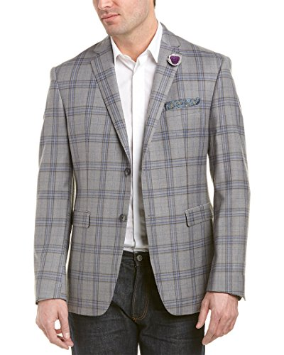 Original Penguin Men's Slim Fit Open Plaid Sport Coat, Grey, 40 (Mens Plaid Coat)