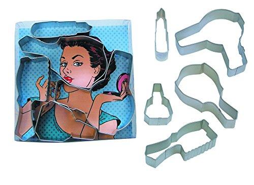 Stewart Cookie Martha Cutters - R&M International 1836 Diva Cookie Cutters, Mirror, Brush, Hair Dryer, Nail Polish, Lipstick, 5-Piece Set