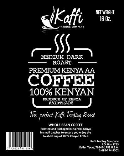 Kaffi Medium Dark Roast Premium Kenya AA Whole Coffee Beans Fair Trade Certified 16 Ounce Resealable Bag Package