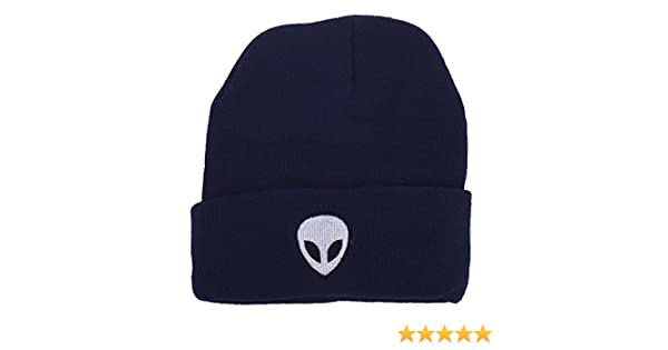 14d88fa2a67 Lux Accessories Navy Blue White Black Alien Beanie Hat at Amazon Women s  Clothing store
