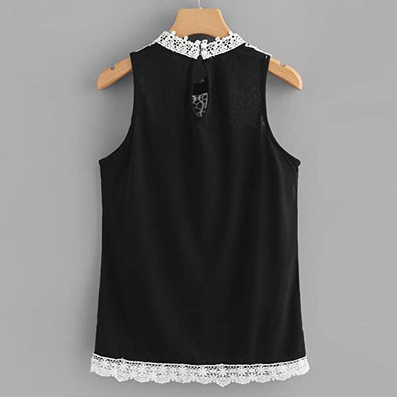 Amazon.com: TIFENNY 2018 New Women Summer Casual Blouse Lace T-Shirt Sleeveless Vest Top Solid Tank Tops: Clothing