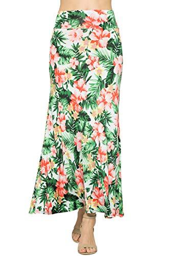 Junky Closet Women's Foldover High Waisted Floor Length Maxi Skirt (1X-Large, S222UPAE-FLORAL) ()