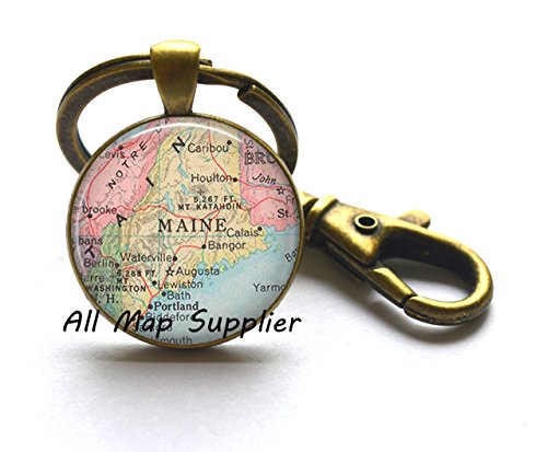 - Charming Keychain,Maine map Key Ring, Maine map jewelry Maine Key Ring state map Key Ring vintage map jewelry Maine map Keychain,A0167