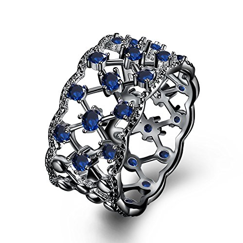 Blue Crystal Plain Promise Ring Punk Jewelry 11MM Wide Christmas Gift Hip Hop Costume by Mrsrui
