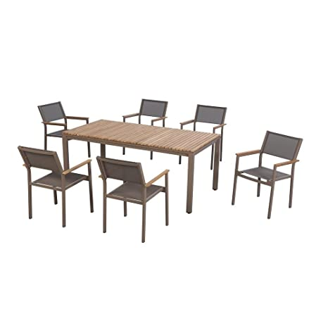 Amazon.com: Hampton Bay Barnsdale Teak 7-Piece Patio Dining Set ...