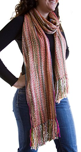 Tumia LAC - Striped Thick, Extra Long Luxurious Scarf - Handmade and Very Warm - Unisex - Pink Tones