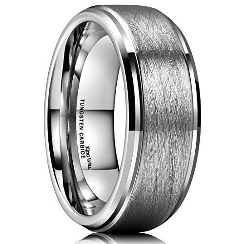 - King Will Classic 8mm Tungsten Ring Matte Brushed Finish Grooved Comfort Fit Polished Men's Wedding Band 8.5