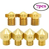 UEETEK 7pcs 1.75mm 3D Printer Head Extruder Brass Nozzle Print Head (0.2mm 0.3mm 0.4mm 0.5mm 0.6mm 0.8mm 1mm zufällig gemischt)
