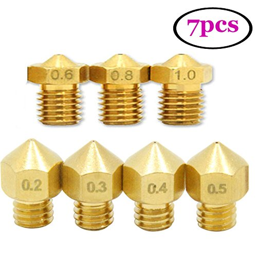 UEETEK 7pcs 1.75mm 3D Printer Head Extruder Brass Nozzle Print Head (0.2mm 0.3mm 0.4mm 0.5mm 0.6mm 0.8mm 1mm zufä llig gemischt)