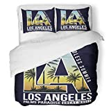 SanChic Duvet Cover Set Beach Los Angeles California Tee American Badge Boys Decorative Bedding Set with 2 Pillow Shams Full/Queen Size