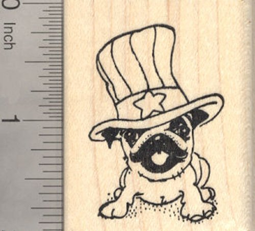 4th of July Pug Rubber Stamp, Patriotic American Dog, Uncle Sam Hat