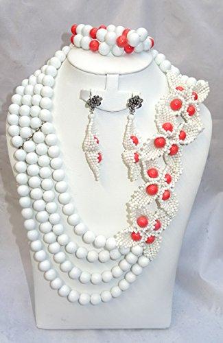 Prestigeapplause Blanc et Rouge africain Perles mariée fête de mariage Ensemble de bijoux
