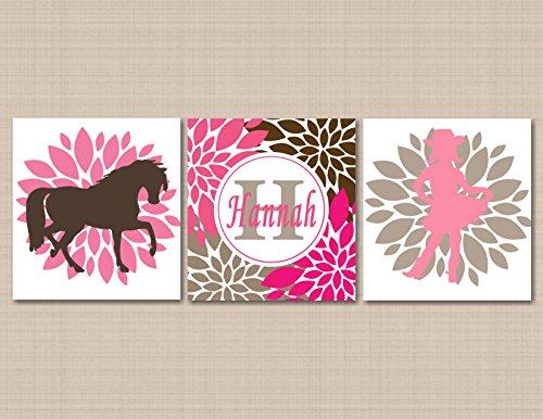 Cow Girl Nursery Wall Art,Horse Pony Pink Brown Nursery Wall Art,Cow Girl Wall Art,Cow Girl Room Decor,Horse Room Décor,Horse Nursery Decor-UNFRAMED Set of 3 PRINTS (NOT CANVAS) C119 -