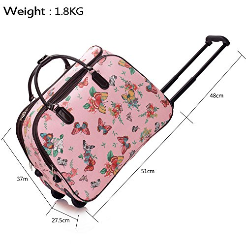Wheel Size Bag BLUE LeahWard L BUTTERFLY pink Luggage Travel Large L Holdall Butterfly With xF55q0pwn