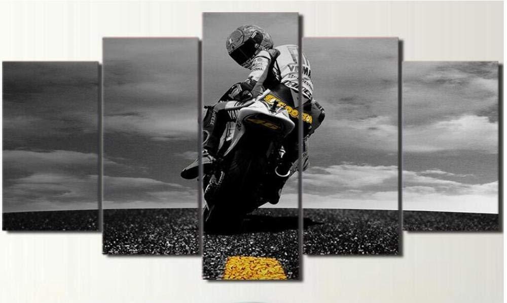 xvhsx Impressions sur Toile 5 Pi/èce Toile Valentino Rossi Moto Affiche HD Imprim/é Mur Art D/écor /À La Maison Toile Peinture Image avec Cadre