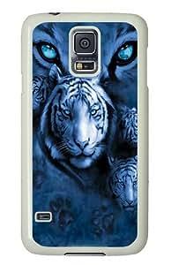 Samsung Galaxy S5 Case,White Tiger Eyes PC Hard Plastic Case for Samsung S5/Samsung Galaxy S5 Whtie