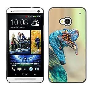 Planetar® ( Turkey Tropical Blue Bird Nature Easter ) HTC One M7 Fundas Cover Cubre Hard Case Cover