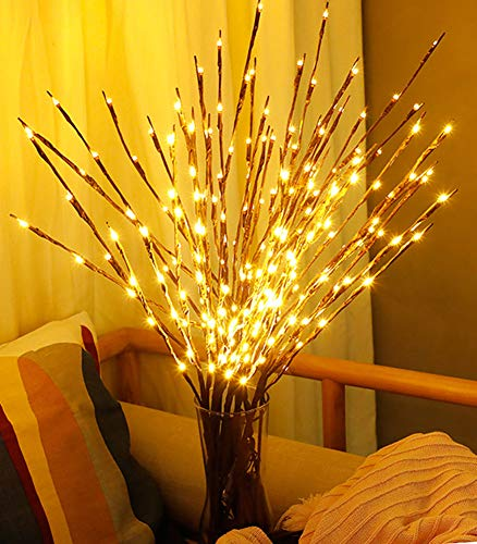 FFNIU730 3 Pack LED Branch Lights Battery Powered Decorative Lights Willow Twig Lighted for Christmas Home Garden Party Wedding- Warm White-30 Inches 20 LED (Decorative Home Lights Led For)