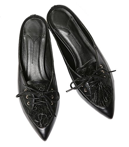 Calaier Mujer Cahardly Bloquear 3CM Cuero Ponerse Zuecos Zapatos Negro
