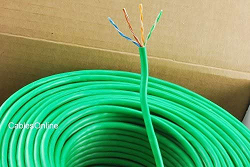 Green U-B250G CablesOnline 250ft CAT5e 100/% Pure Copper RJ45 350Mhz UTP Solid Ethernet Cable Spool