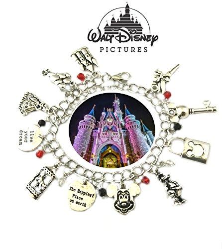 Disney's Magic Kingdom Charm Bracelet TV Show Movie Series Jewelry Multi Charms - Wristlet - Outlander Gear Movie Mickey Mouse Goofy Minnie Mouse Cartoon - Stores At Kingdom Magic