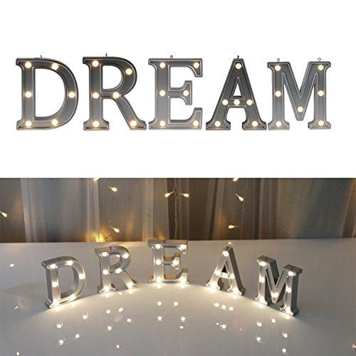 Dream Wall Decor - DELICORE Decorative Illuminated DREAM Marquee Word Sign (Silver Color 4.21