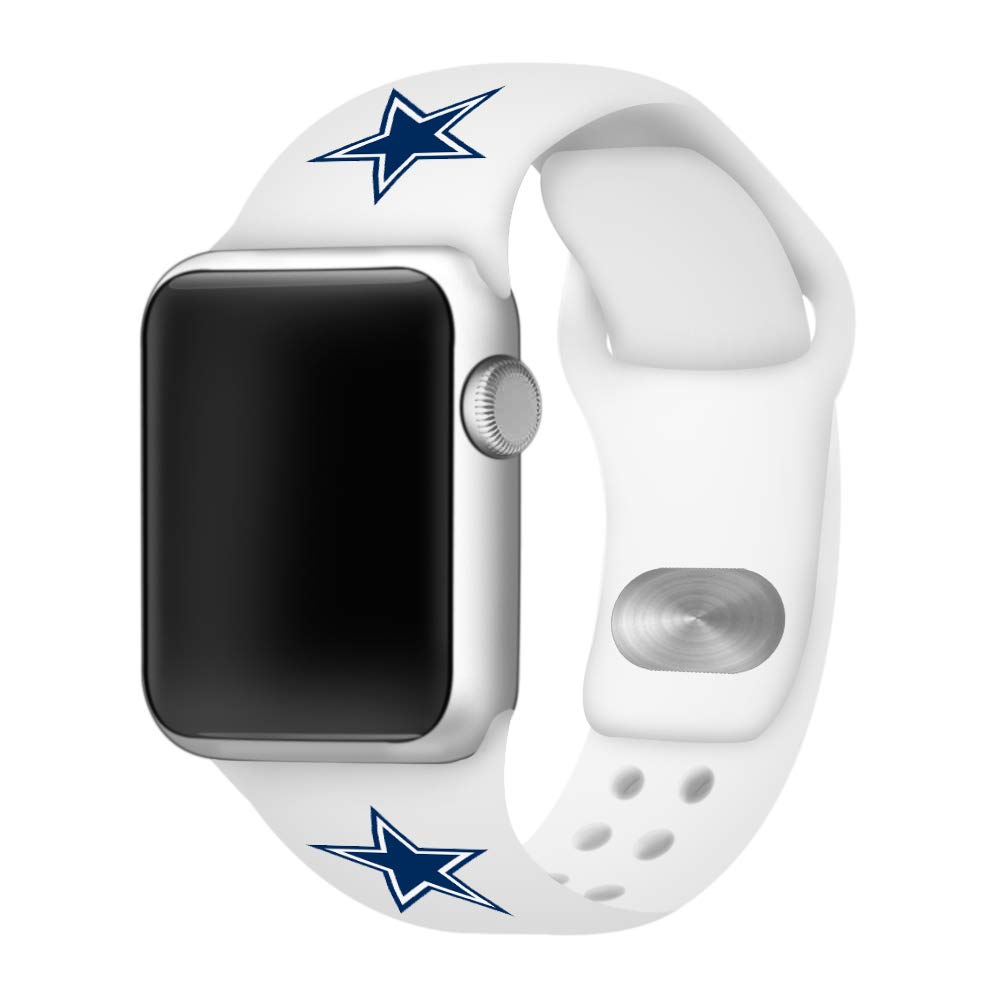 GAME TIME Dallas Cowboys Silicone Sport Band Compatible with Apple Watch (White, 42mm/44mm) by Game Time (Image #1)