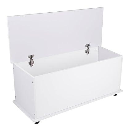 COMOTS - Baúl de Almacenamiento de Madera con Tapa para niños, diseño Vintage, Color Blanco, 99 x 40 x 45 cm: Amazon.es: Hogar