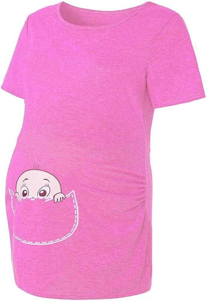 Vestidos para Premam/á Mujeres Embarazadas Ropa De Maternidad Manga Corta Camiseta con Estampado Lindo Embarazo Gr/áfico Dibujos Animados Lactancia Materna