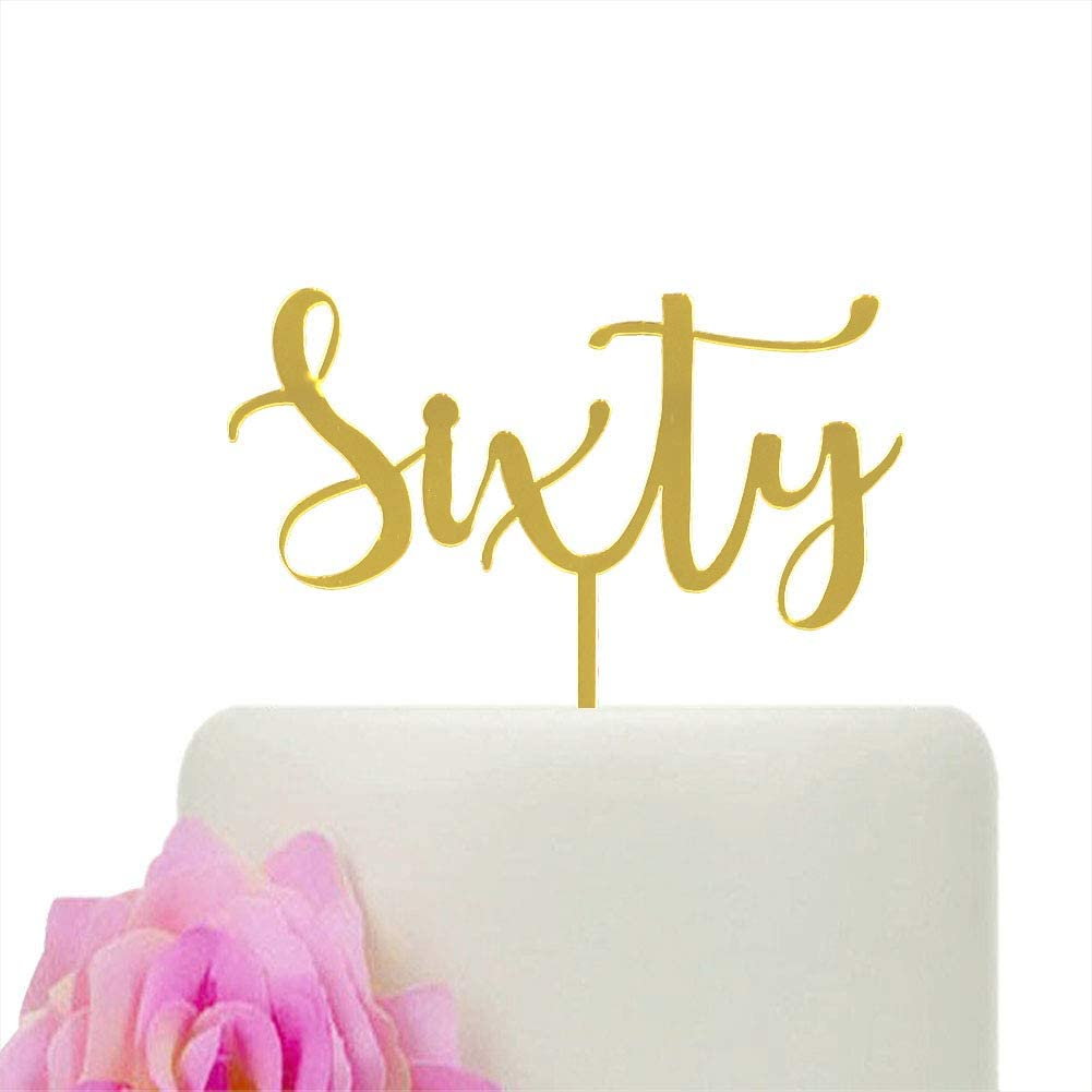 Sixty Cake Topper, Happy 60th Birthday Party Decorations, 60th Wedding Anniversary Cake Decors, Cheers to 60 Years, Gold