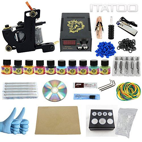ITATOO Complete Tattoo Kit for Beginners Tattoo Power Supply Kit 10 Tattoo Inks 30 Tattoo Needles 1 Pro Tattoo Machine Kit Tattoo Supplies TK1000009