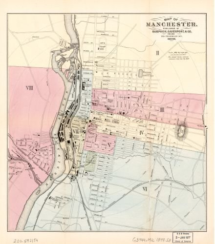 1879 Map of Manchester. - Size: 22x24 - Ready to Frame - Manchester | New Hampshire | Manchester | - New Hampshire Shopping Manchester