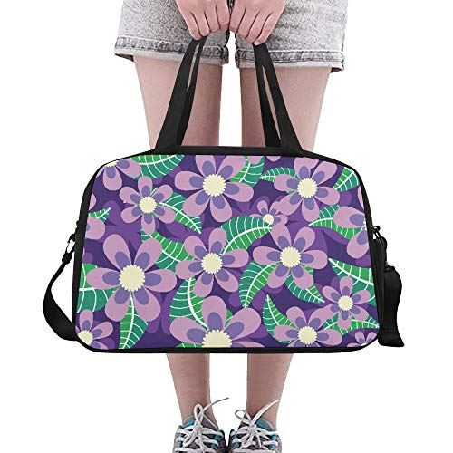 Elegant Purple Color Flower Custom Large Yoga Gym Totes Fitness Handbags Travel Duffel Bags With Shoulder Strap Shoe Pouch For Exercise Sports Luggage For Girls Mens Womens Outdoor from Wanjuax