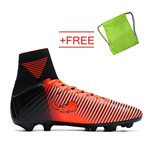 VITIKE Mens Boys SG Soft Ground Football Boots Leather Soccer Boot(EU44-Orange) 1pW5xMHBL9