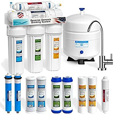 Express Water 5 Stage Home Drinking Reverse Osmosis System 50GPD MODERN Chrome Faucet PLUS EXTRA 5 FILTERS