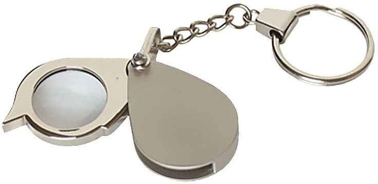 Sunlera 8X Llave Plegable Anillo Lupa con Llavero Diario de Bolsillo Portátil Mini Lupa