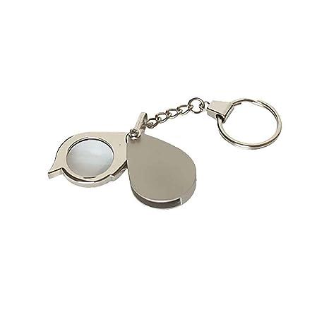 8X llave plegable Anillo Lupa con llavero diario de bolsillo portátil Mini lupa Regard