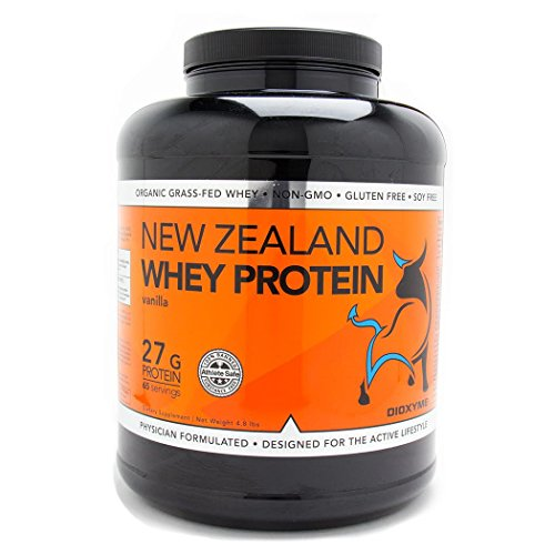 DIOXYME New Zealand Grass Fed Whey Protein Powder, 5 lbs of Low Carb, Ultra Premium 100% Grass Fed Whey Protein Isolate, GMO-Free + rBGH Free + Soy Free + Gluten Free (Vanilla) -