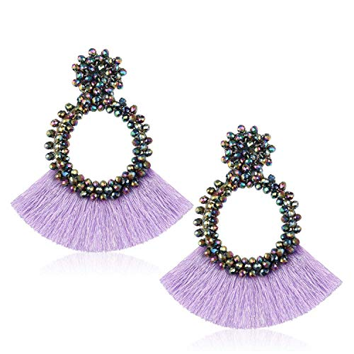 Tassel Beads Statement Hoop Earrings for Women Handmade Drop Dangle for Daily Wedding Party With Gift Box HLE130 Purple