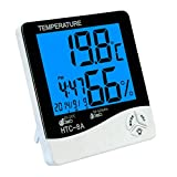 GuDoQi Digital Hygrometer Thermometer Backlight Temperature and Humidity Meter with Alarm Function Calendar Time Display for Home Office Baby Room Wine Cellar